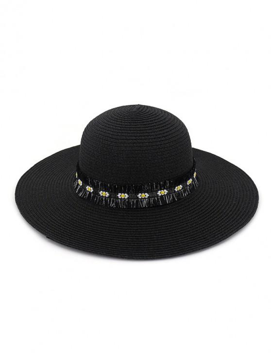 sale Flower Fringe Straw Sun Hat - BLACK