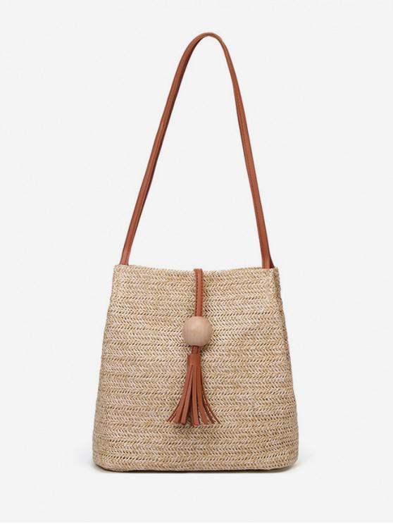 buy Tassel Decor Woven Straw Crossbody Bag - LIGHT BROWN