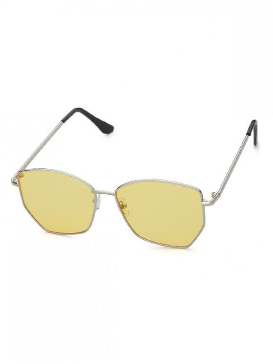 women Metal Irregular Outdoor Sunglasses - YELLOW