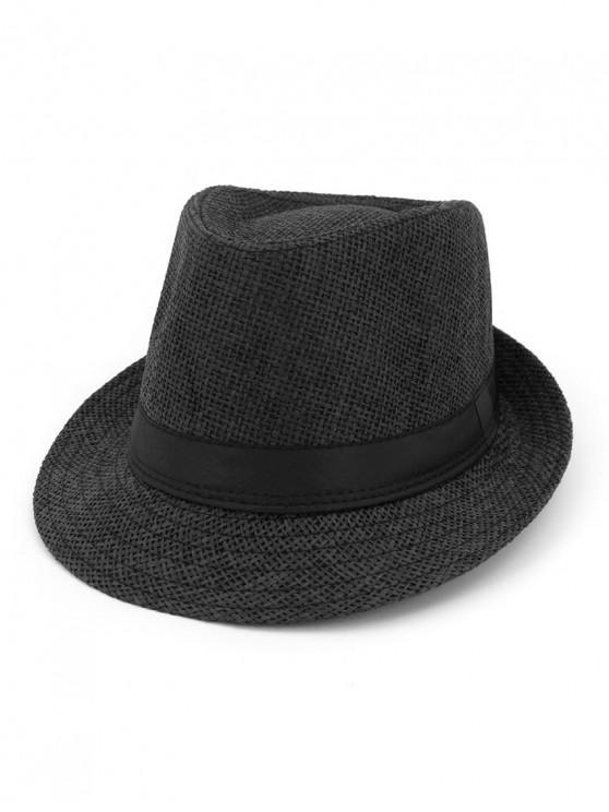 ladies Unisex Straw Jazz Hat - BLACK