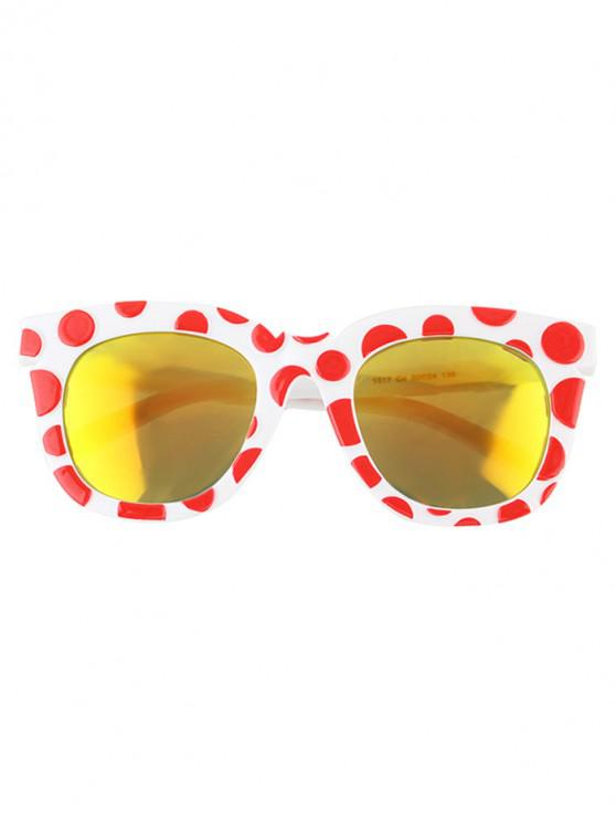 outfits Polka Dot Mirrored Oversized Sunglasses - LAVA RED