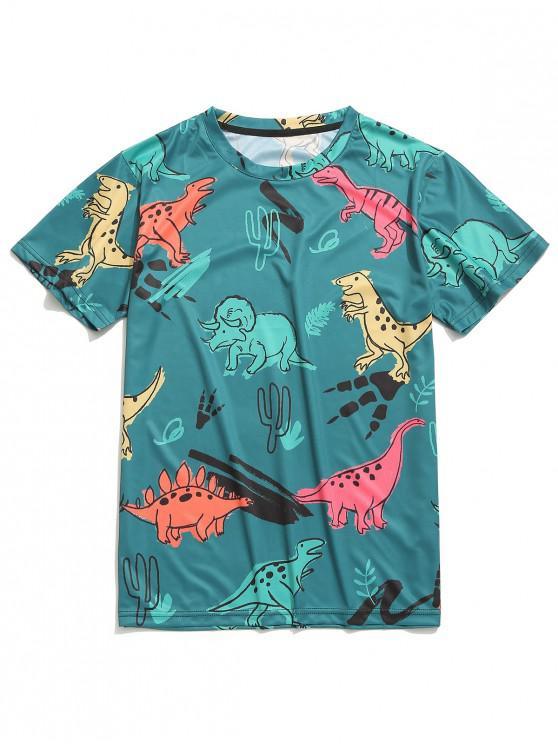 lady Dinosaur Printed Short Sleeves T-shirt - MULTI-B M