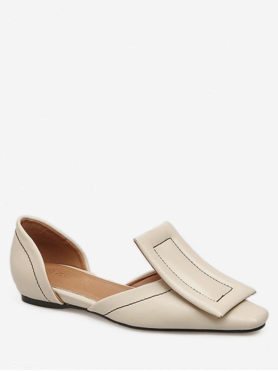 fashion Large Buckle Square Toe Flats - APRICOT EU 35