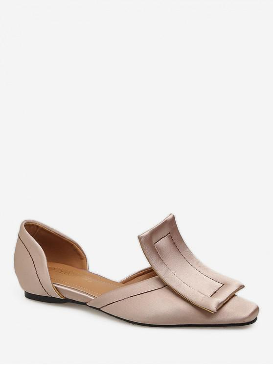 chic Large Buckle Square Toe Flats - PINK EU 39