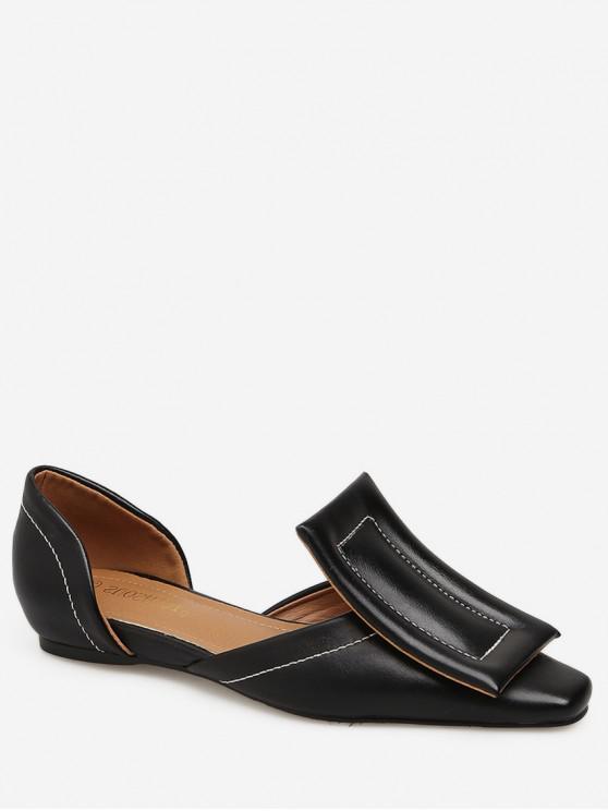 buy Large Buckle Square Toe Flats - BLACK EU 36