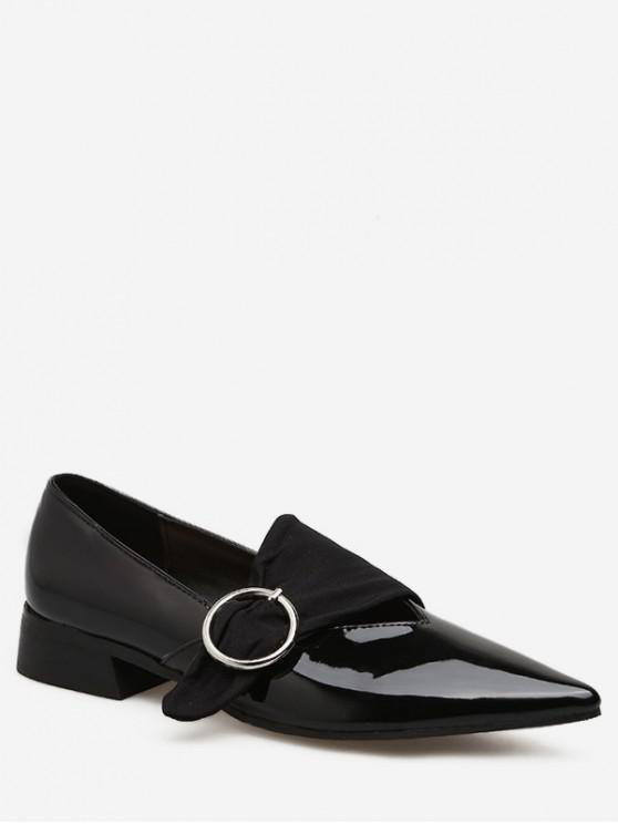 lady Pointed Toe Buckled Low Heel Shoes - BLACK EU 35