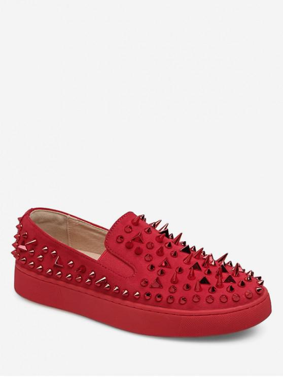 buy Round Toe Rivet Loafer Flats - RED EU 39