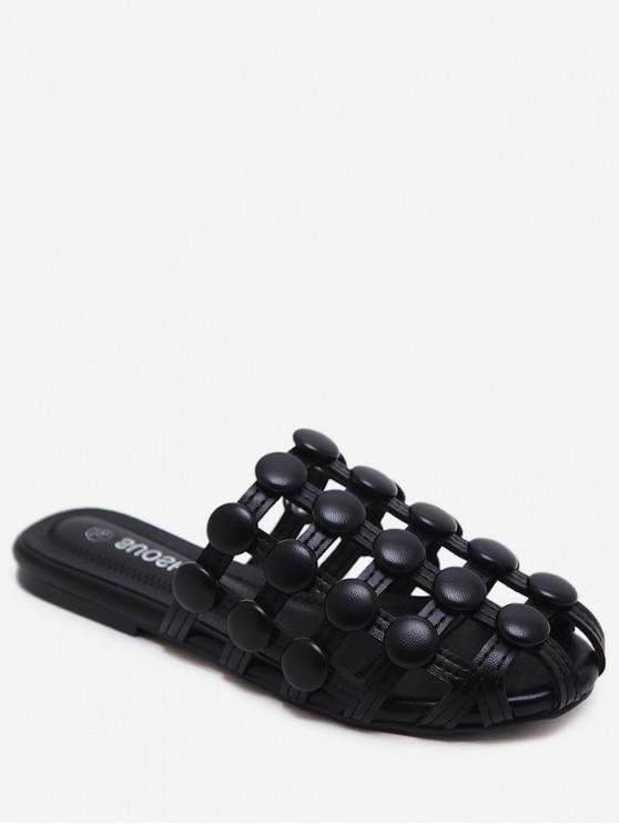 ladies Closed Toe Hollowed Studded Slingback Flats - BLACK EU 35