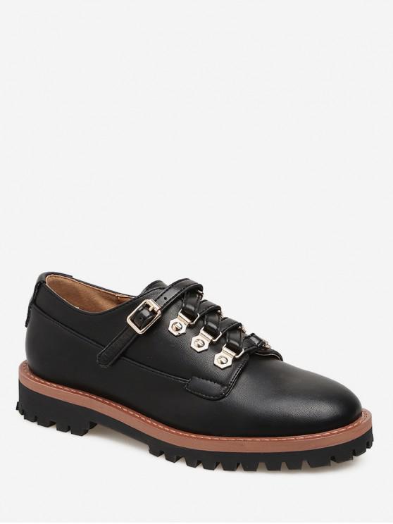 lady Buckled Round Toe British Shoes - BLACK EU 38