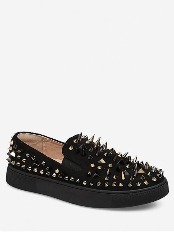latest Round Toe Rivet Loafer Flats - BLACK EU 37