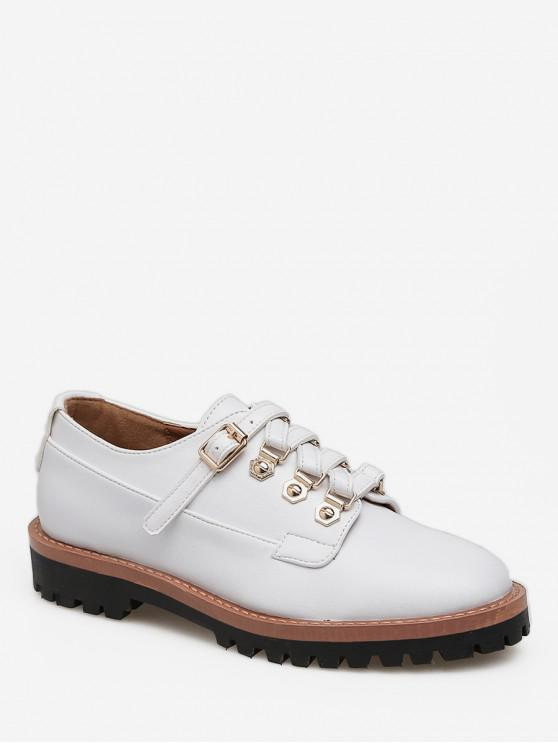 fancy Buckled Round Toe British Shoes - WHITE EU 38