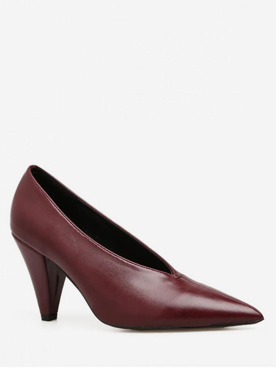 1895539b6ed 19% OFF   NEW  2019 Pointed Toe V Cut High Heel Pumps In RED WINE ...