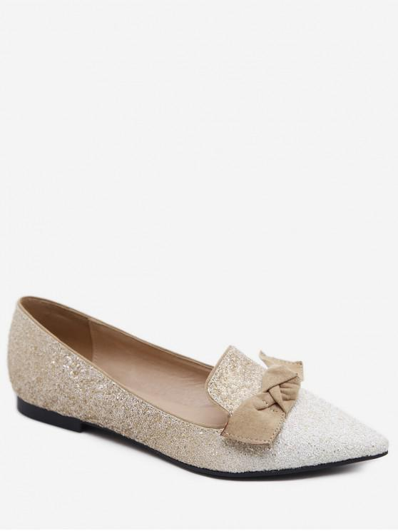 fashion Gradient Sequined Pointed Toe Bow Flats - WHITE EU 36