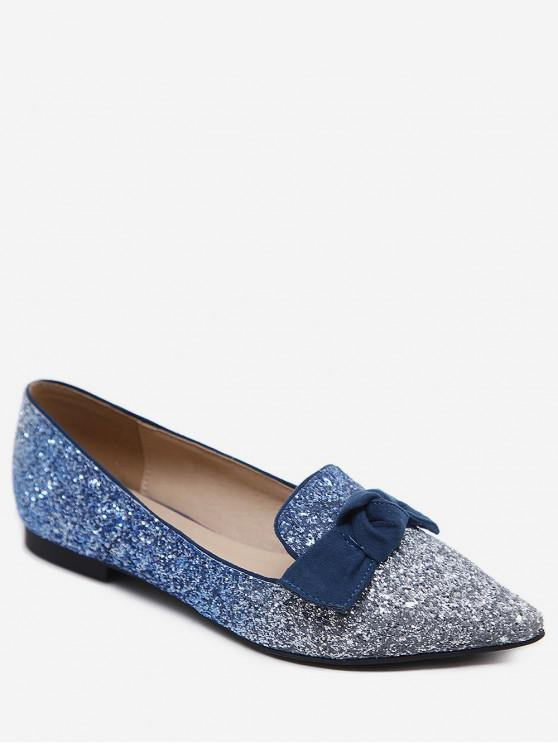 best Gradient Sequined Pointed Toe Bow Flats - LIGHT BLUE EU 38