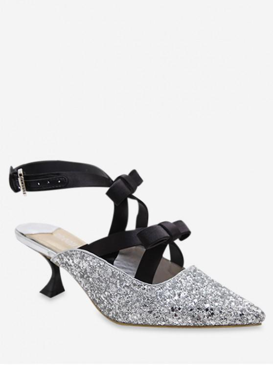 latest Glitter Pointed Toe Bow Mid Heel Pumps - SILVER EU 39