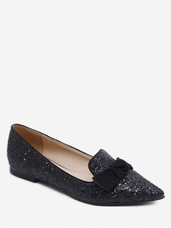 trendy Gradient Sequined Pointed Toe Bow Flats - BLACK EU 36