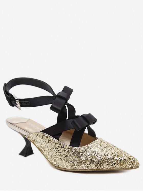 sale Glitter Pointed Toe Bow Mid Heel Pumps - GOLD EU 35