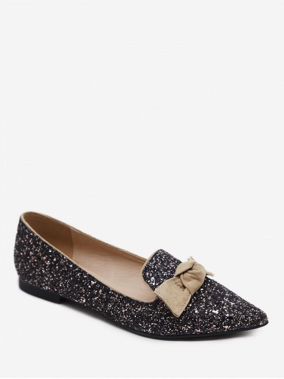fancy Gradient Sequined Pointed Toe Bow Flats - BROWN EU 37