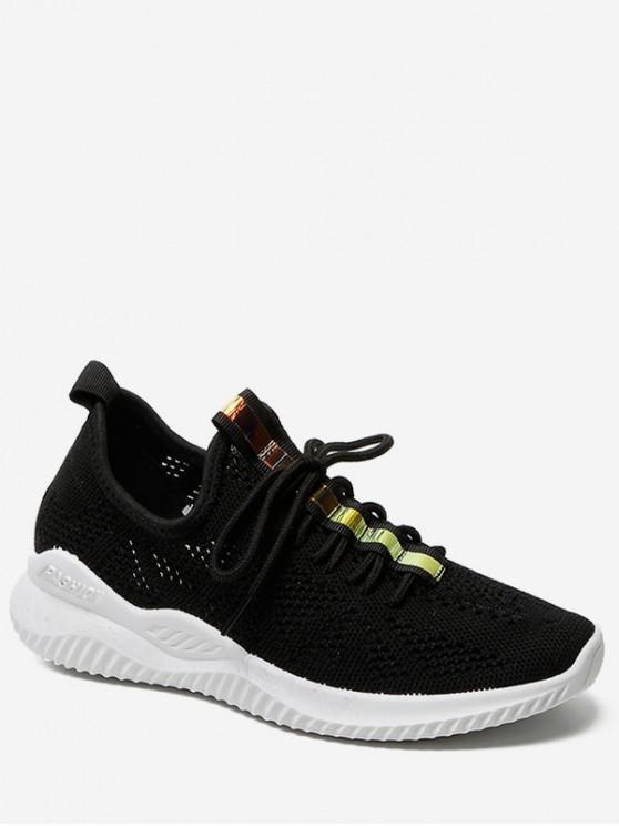 unique Belt Decor Breathable Sports Shoes - BLACK EU 37