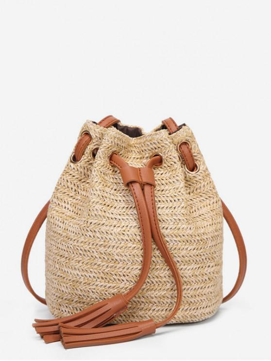 buy Woven Straw Drawstring Bucket Bag - LIGHT BROWN