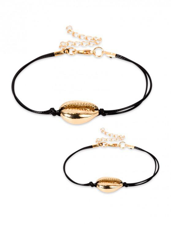 ladies Simple Style Shell Bracelet Necklace Set - GOLD