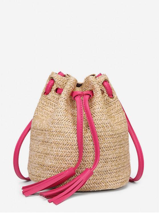 best Woven Straw Drawstring Bucket Bag - ROSE RED
