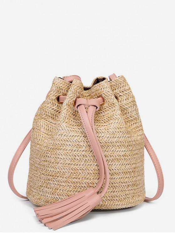 shops Woven Straw Drawstring Bucket Bag - PIG PINK