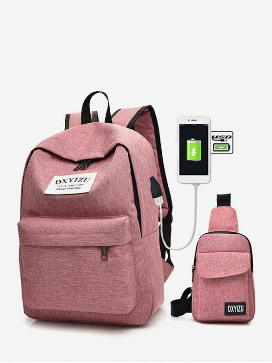 trendy Charging Canvas Crossbody Bag Backpack Set - WATERMELON PINK