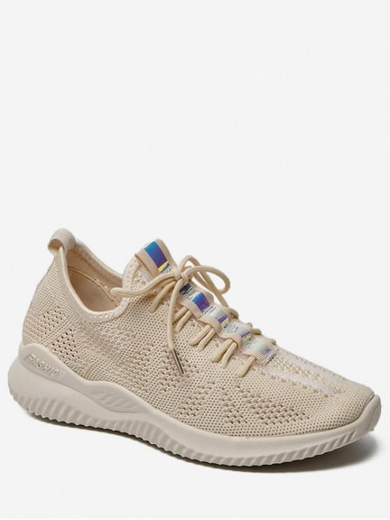 womens Belt Decor Breathable Sports Shoes - BEIGE EU 38