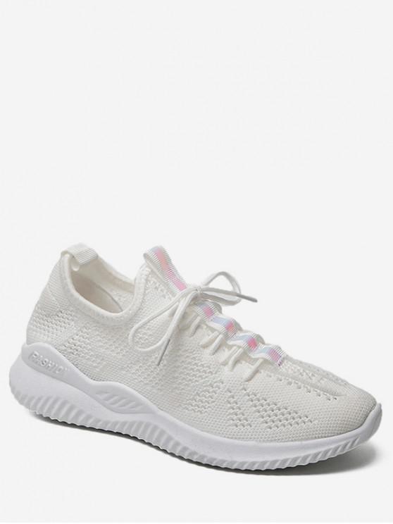 lady Belt Decor Breathable Sports Shoes - WHITE EU 36