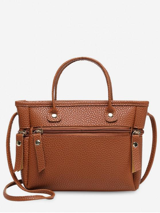 chic Zipper Small Cross Body Bag - LIGHT BROWN