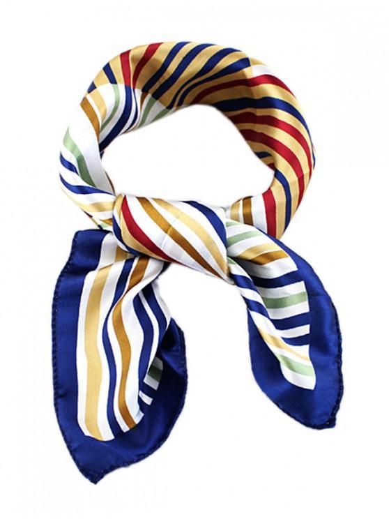 fancy Striped Print Silky Square Scarf - DEEP SKY BLUE