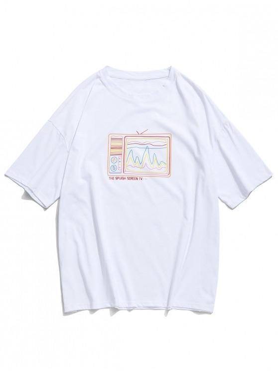 Camiseta retro con estampado de televisor antiguo, camiseta con hombros caídos - Blanco S