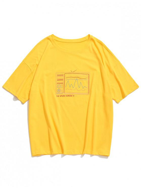 Camiseta retro con estampado de televisor antiguo, camiseta con hombros caídos - Amarillo S