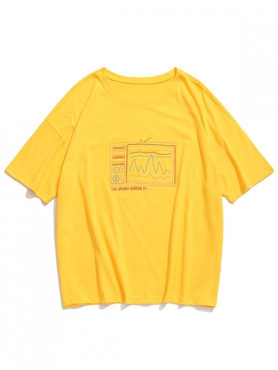 affordable Retro Old Screen TV Print Drop Shoulder T-shirt - YELLOW 2XL