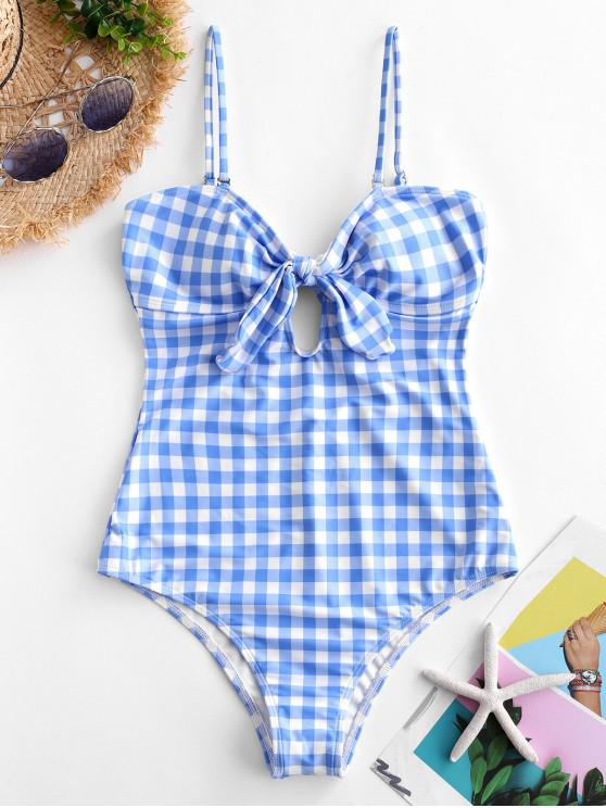 affordable ZAFUL Plaid Tied Cami Swimsuit - MULTI-A L