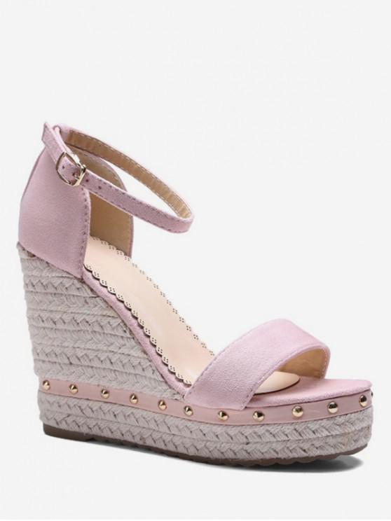 latest Ankle-strap Rivet Wedge Sandals - PINK EU 37