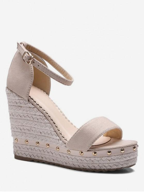 buy Ankle-strap Rivet Wedge Sandals - APRICOT EU 43