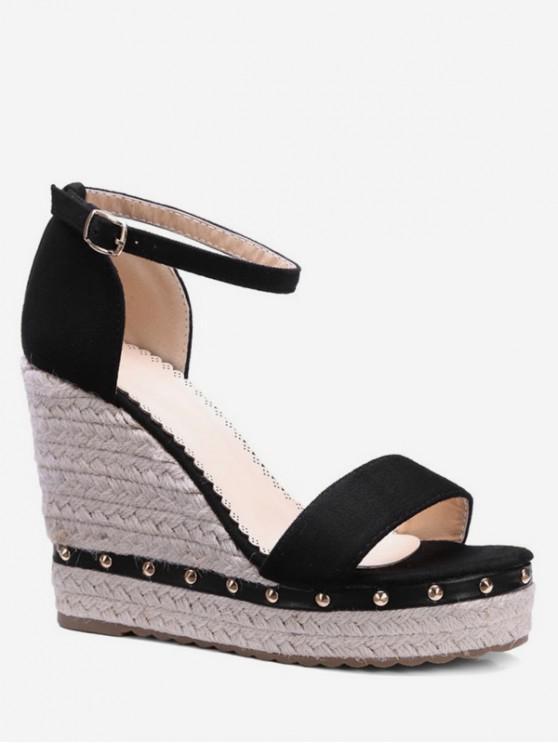 fashion Ankle-strap Rivet Wedge Sandals - BLACK EU 38