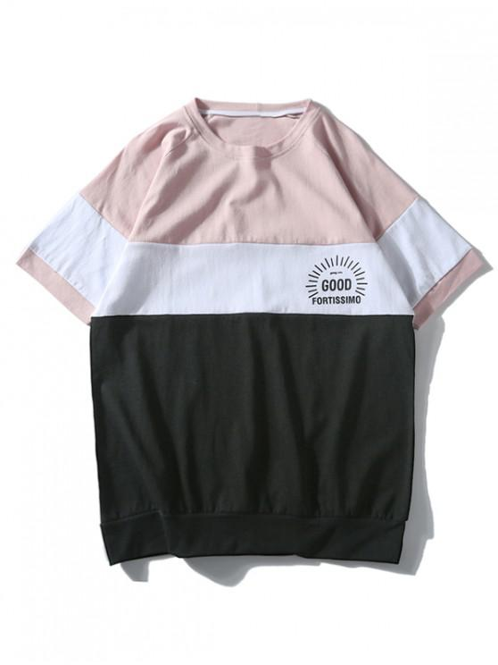 fashion Color Block Leisure Short Sleeves T-shirt - PIG PINK L