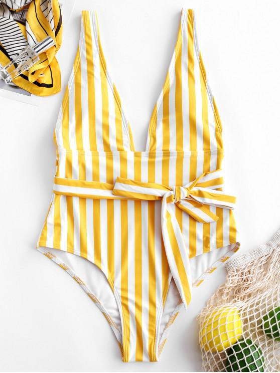 best ZAFUL Striped Plunging Belted Swimsuit - MULTI-A S