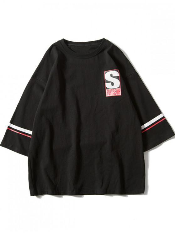 hot Letter Printed Short Sleeves T-shirt - BLACK 2XL
