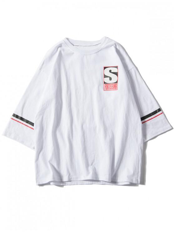 shops Letter Printed Short Sleeves T-shirt - WHITE XL
