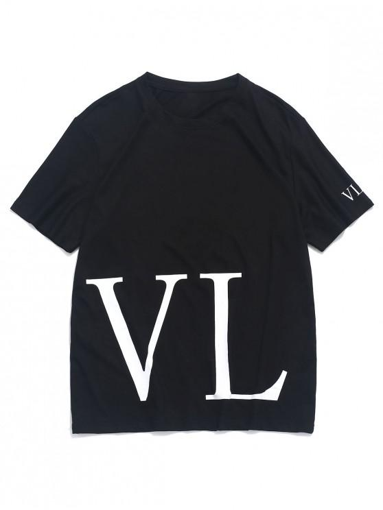 unique Short Sleeves Letter Print Casual Tee - BLACK XS