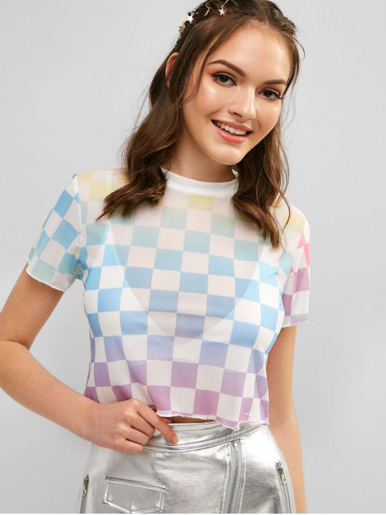 fancy Checkered Ombre Crop T-shirt - MULTI-A S