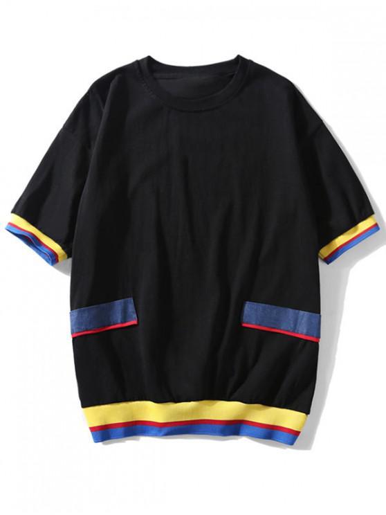 Lässige Farbe- Gespleißt T-Shirt mit Kurzen Ärmeln - Schwarz XL