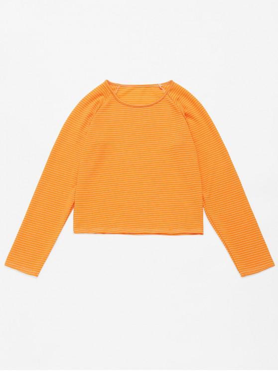 fashion ZAFUL Striped Raglan Sleeve Tee - YELLOW M