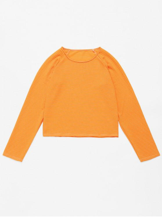 chic ZAFUL Striped Raglan Sleeve Tee - YELLOW L