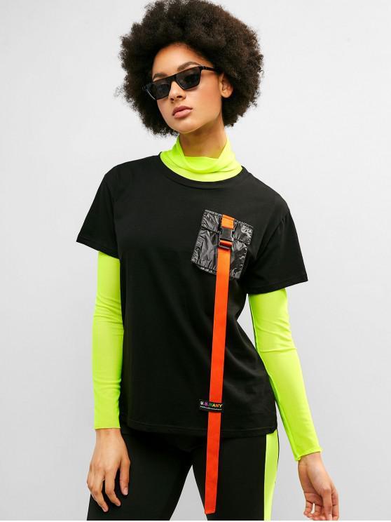 fashion ZAFUL Ribbon Chest Pocket Tunic Tee - BLACK L