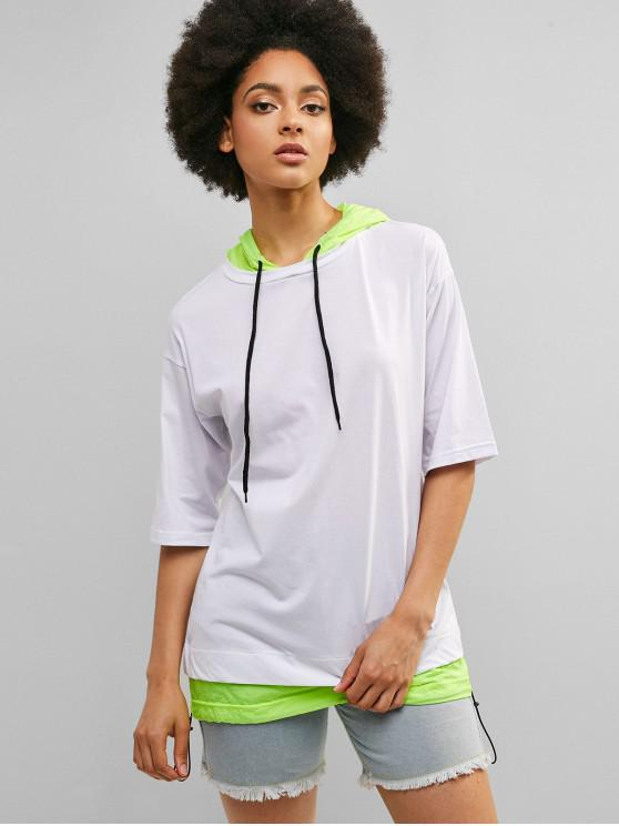 unique ZAFUL Neon Drawstring Tunic Hooded Tee - WHITE L